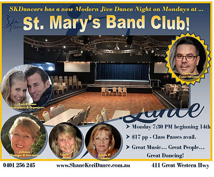 Exciting news for Western Sydney music lovers, St Marys band Club is bringing Modern Jive Dance Lessons to the club starting January 14th